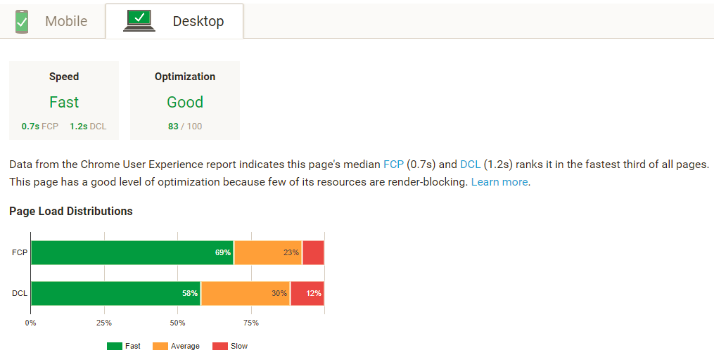 page-speed-insights-report